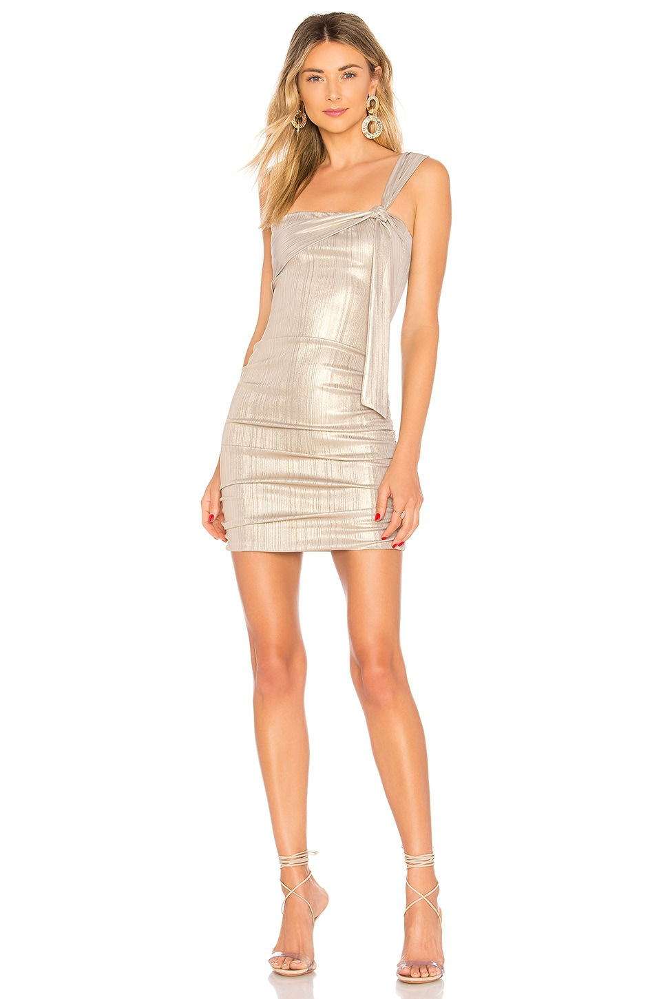 h:ours Evans Mini Dress in Soft Gold