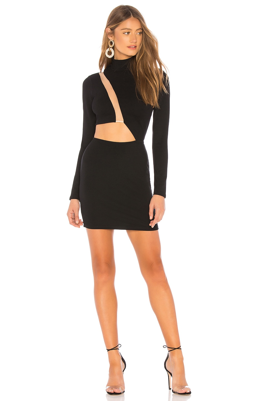 h:ours Malena Mini Dress in Black