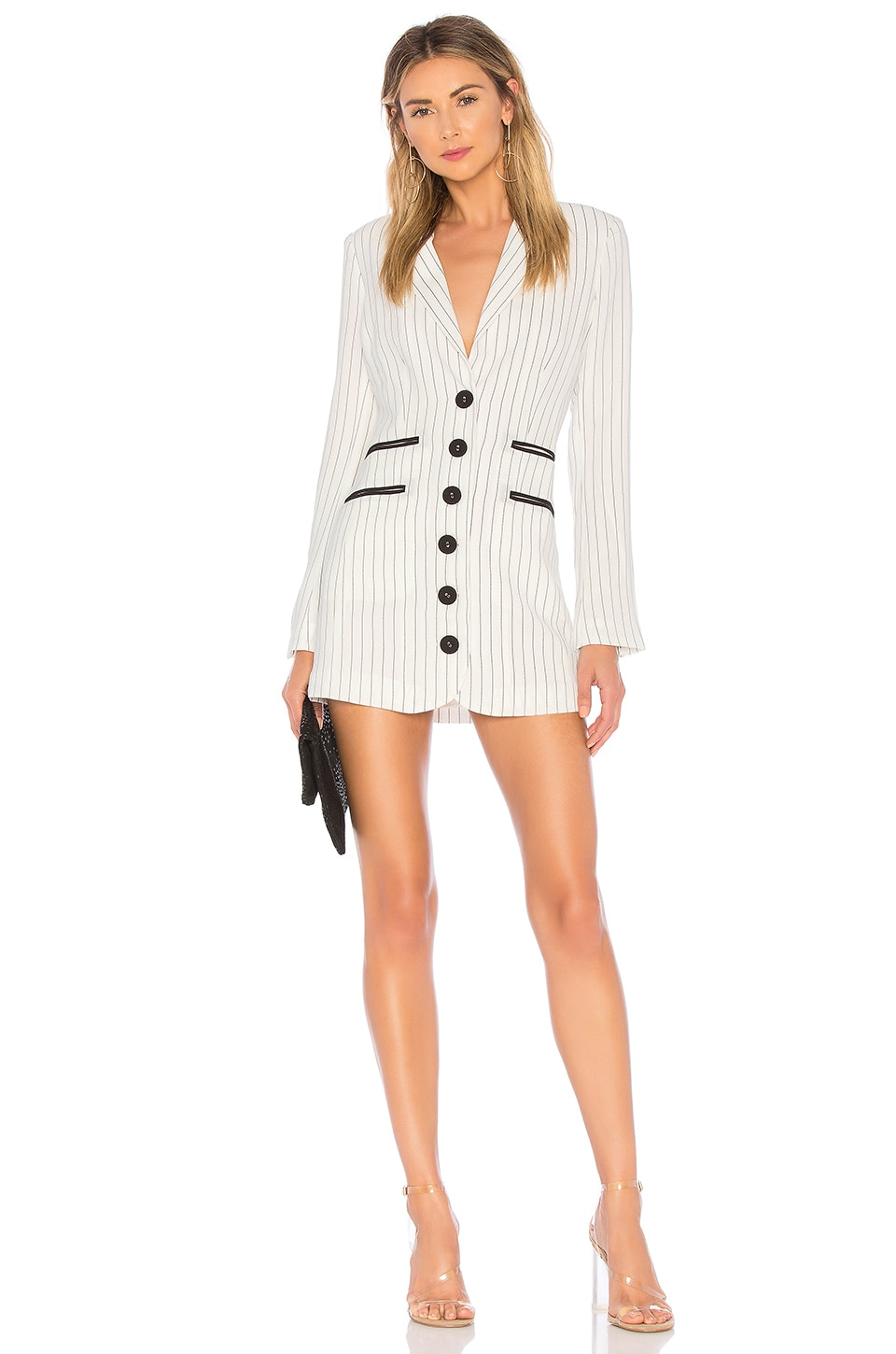 h:ours Dux Dress in White & Black