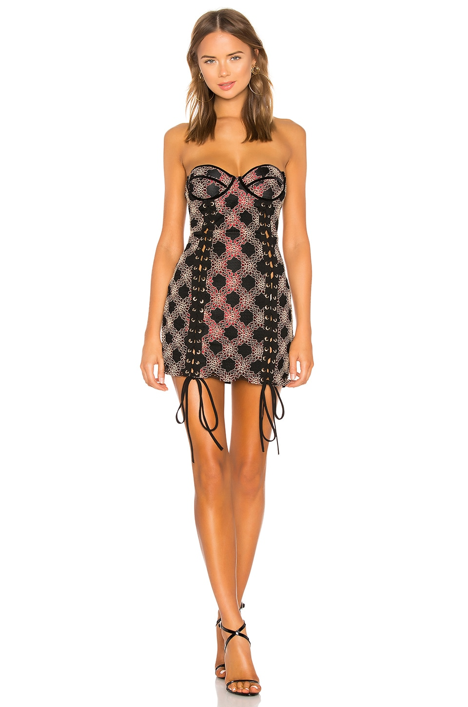 h:ours Bette Mini Dress in Black Sangria