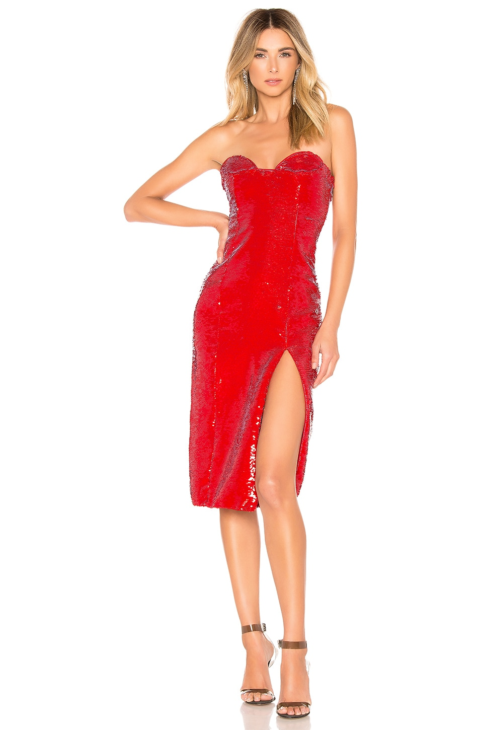 h:ours Cesca Dress in Red Gaga