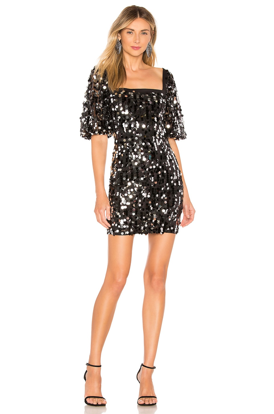 h:ours Gael Mini Dress in Black Galaxy