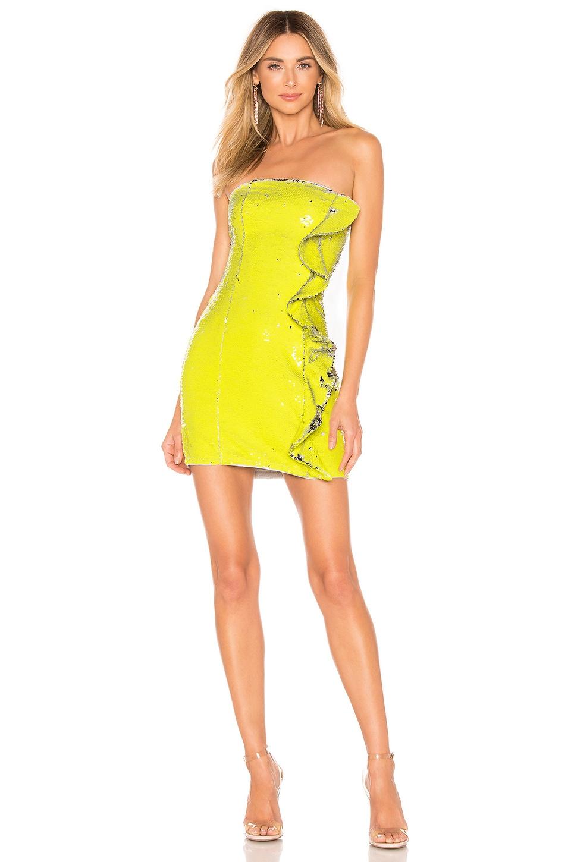 h:ours Nala Ruffle Mini Dress in Silver Yellow