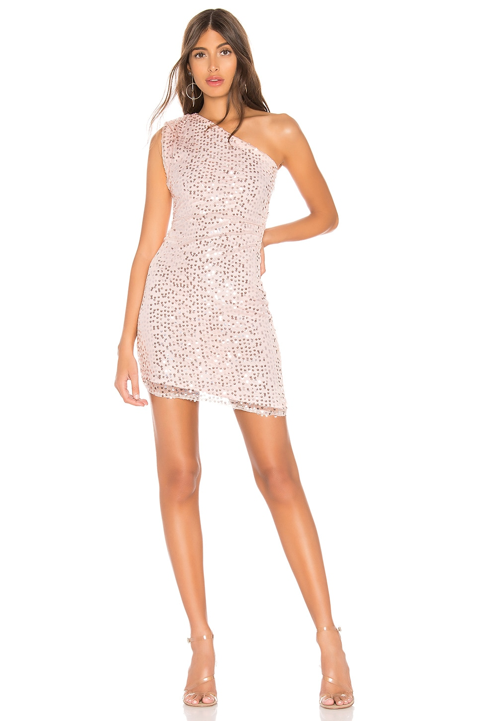 h:ours Hanna Mini Dress in Silver Pink