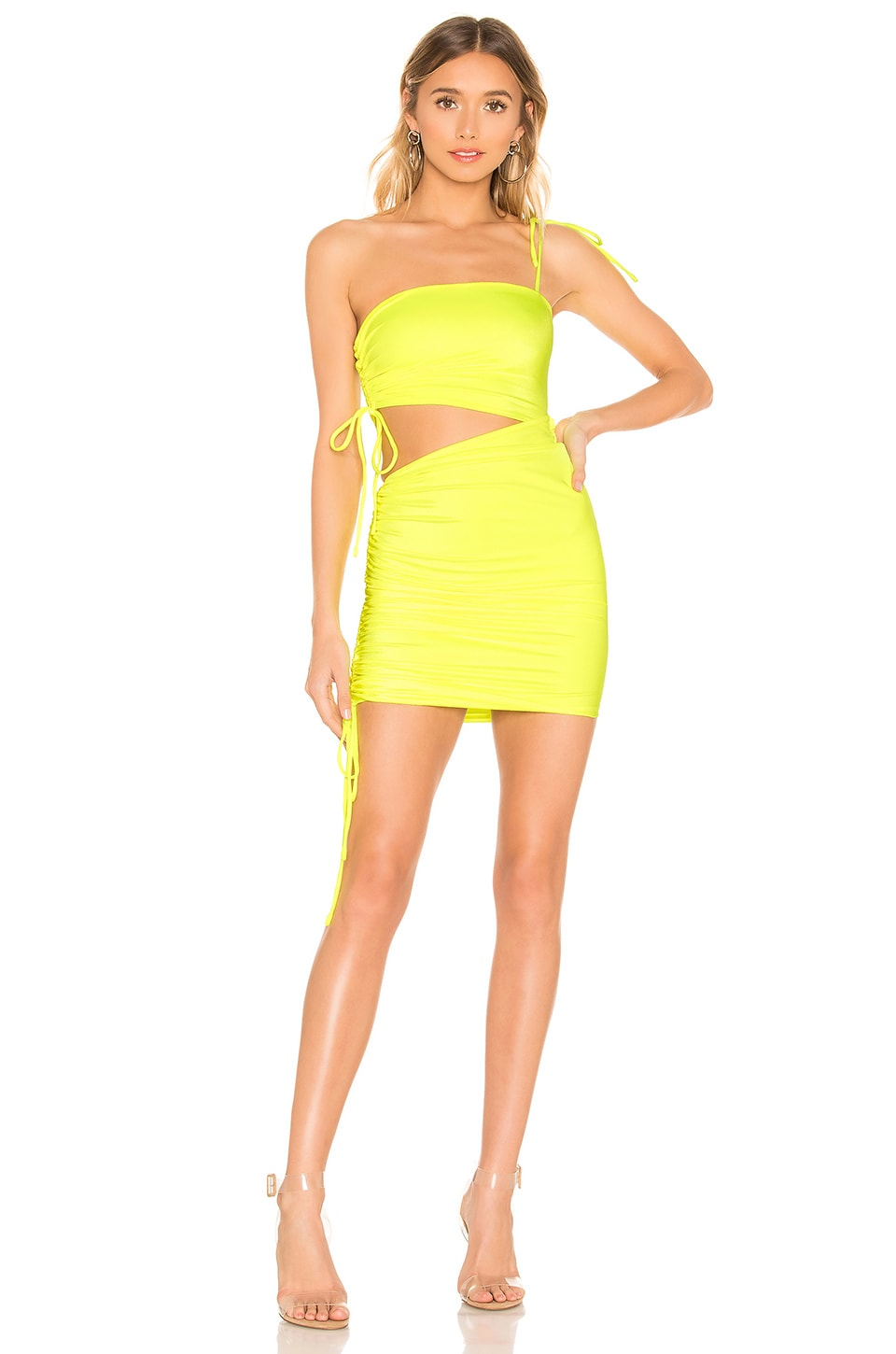 h:ours Piper Mini Dress in Neon Yellow