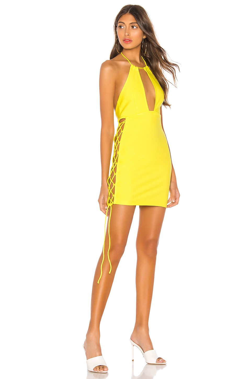 h:ours Arcadia Mini Dress in Yellow Citrus