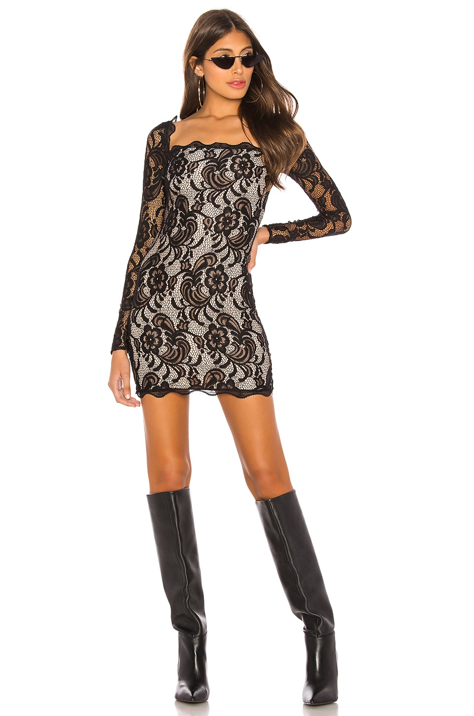 h:ours Delilah Mini Dress in Black
