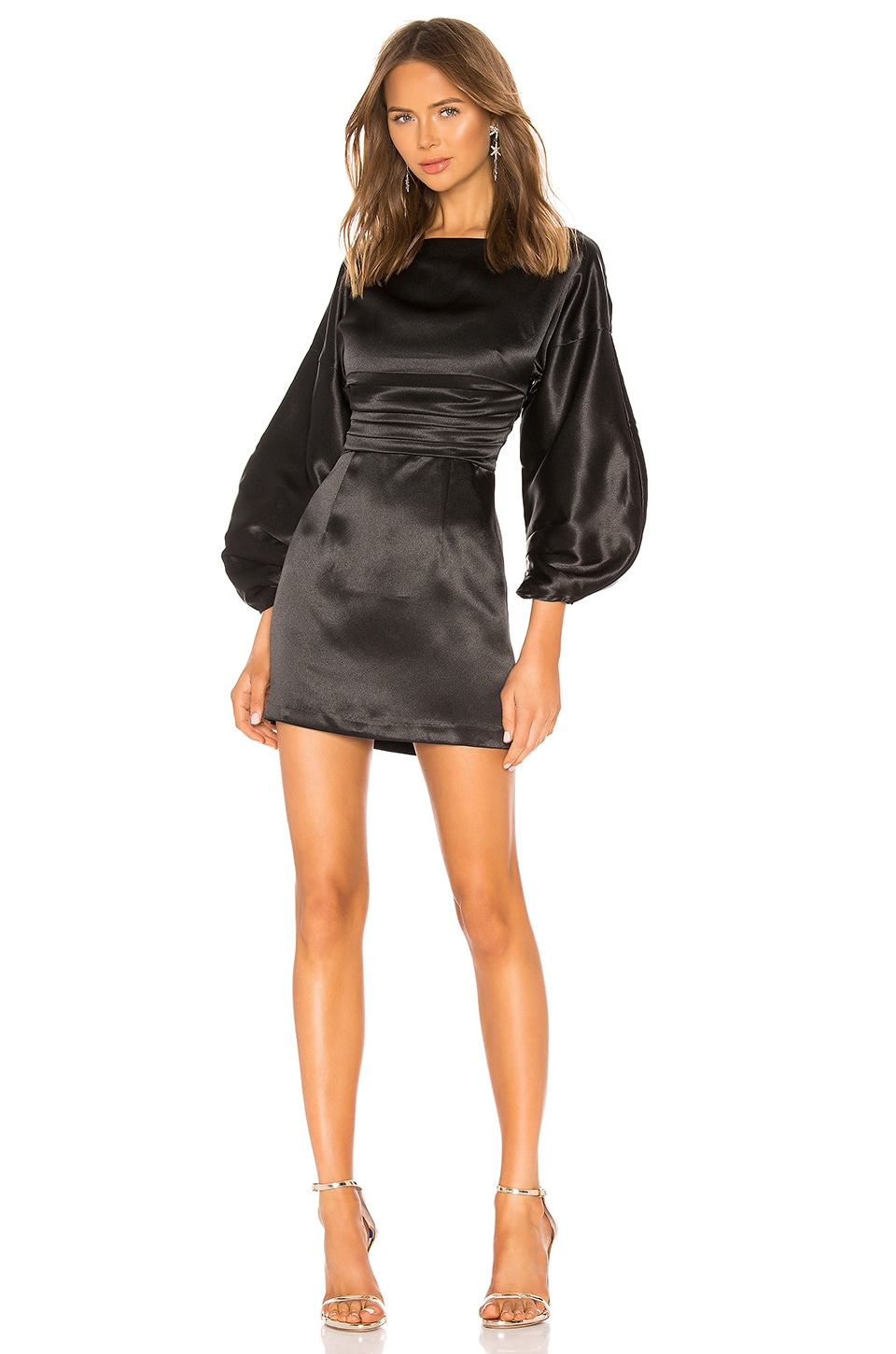 h:ours Cristiano Mini Dress in Black Noir