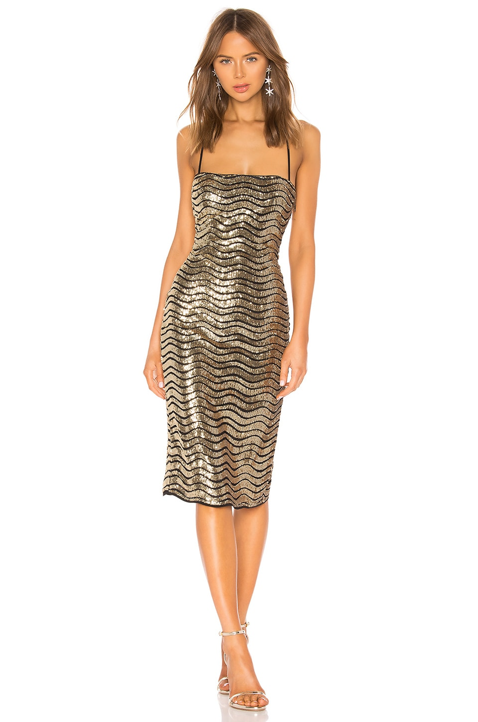 h:ours Lexie Midi Dress in Gold