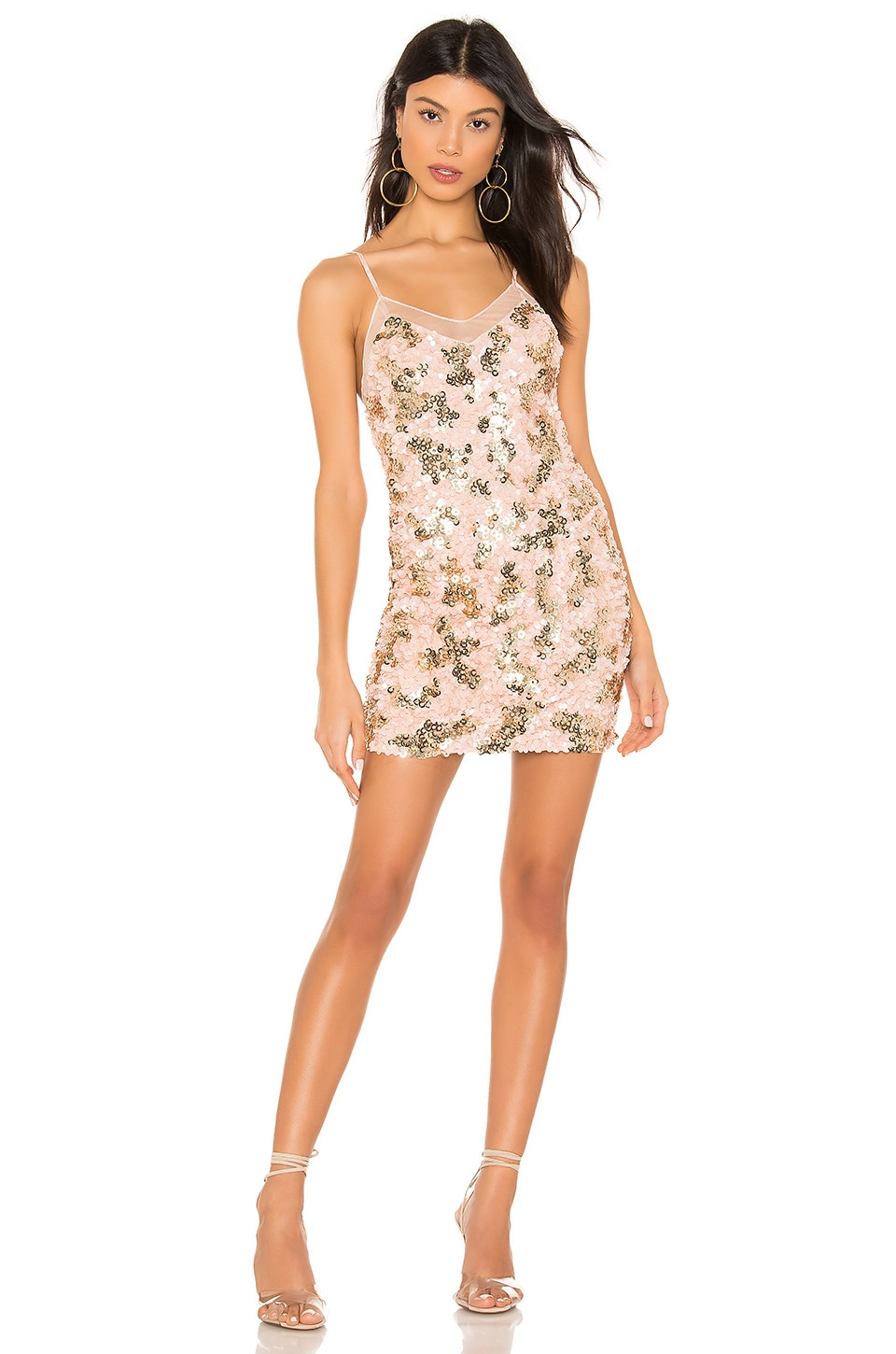 h:ours Nolita Mini Dress in Pink and Gold in Pink & Gold