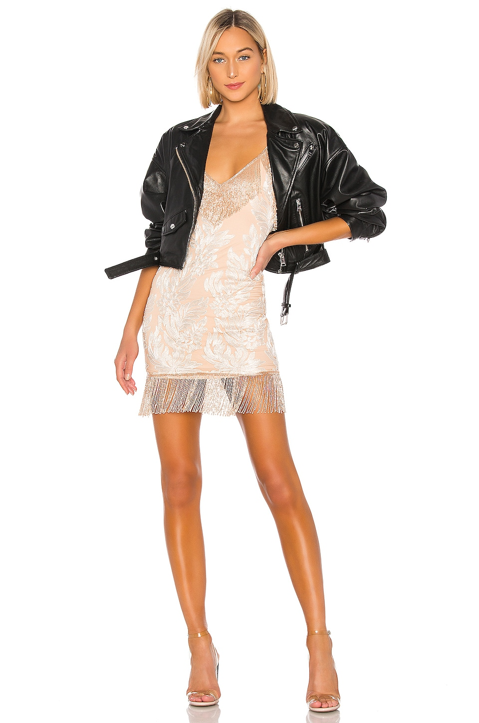 h:ours Janisa Embellished Mini Dress in Rosegold