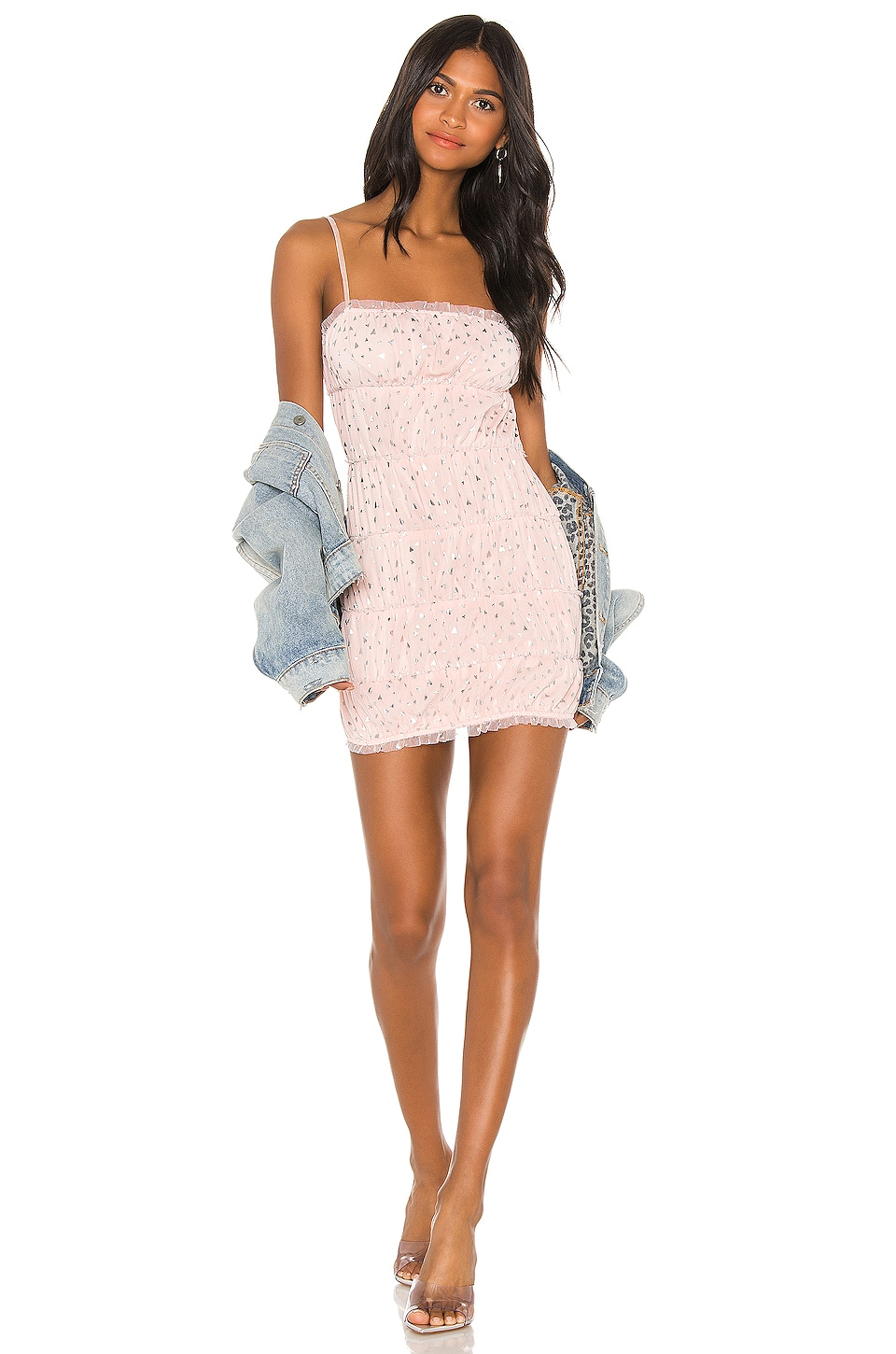 h:ours Bruno Mini Dress in Silver Hearts