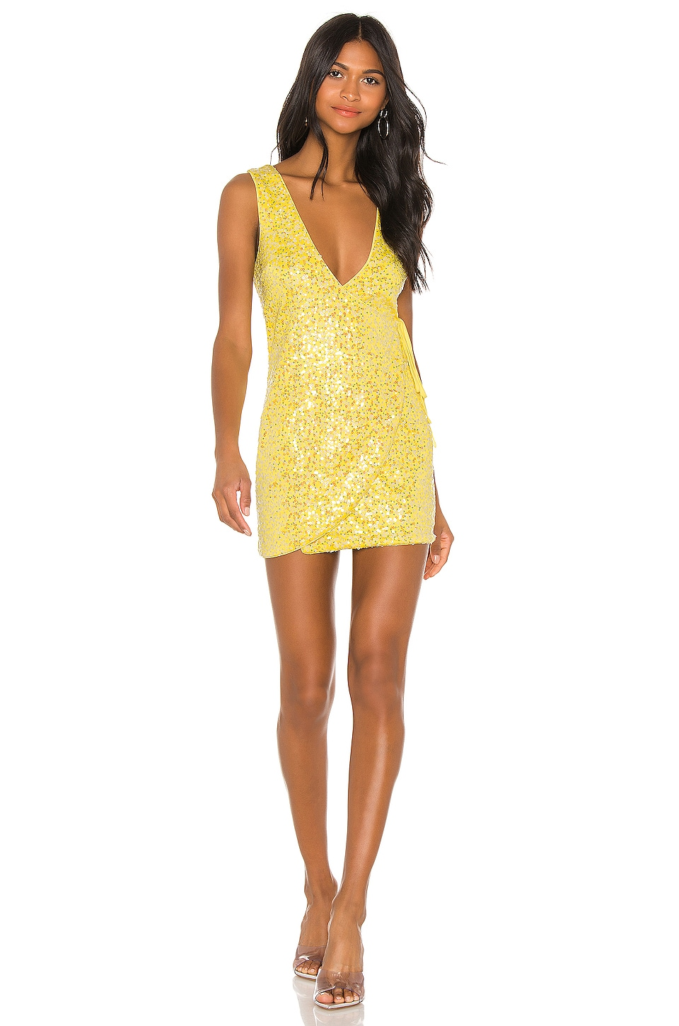 h:ours Broadway Mini Dress in Iridescent Canary