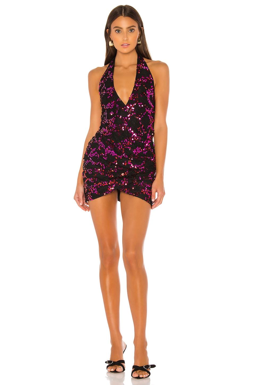 h:ours Margaret Mini Dress in Fuchsia & Black