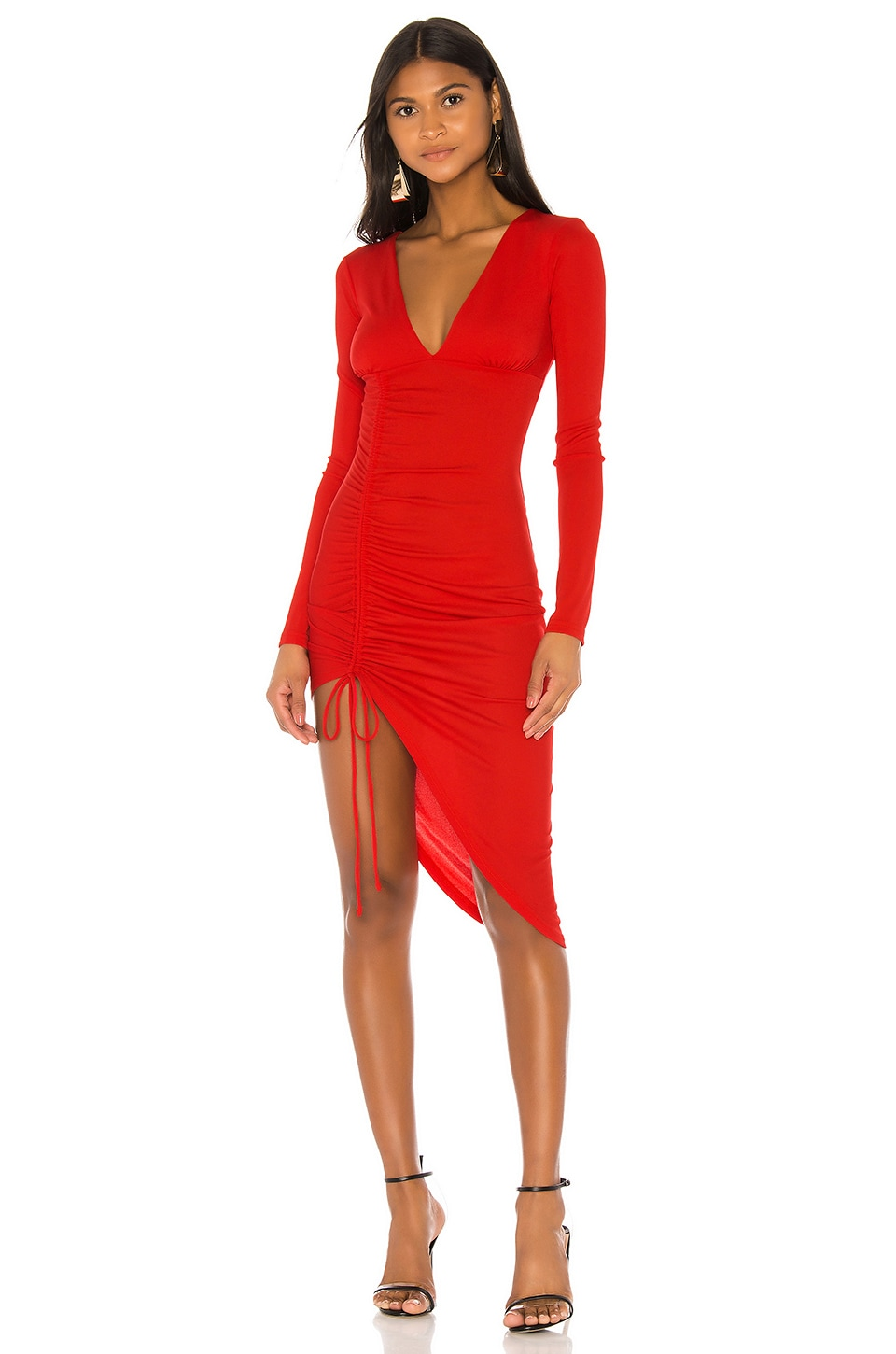 h:ours Cherish Midi Dress in Hot Red