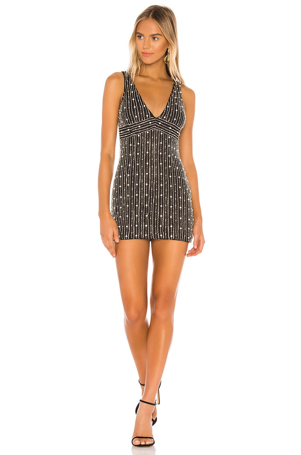 h:ours Opulence Mini Dress in Black