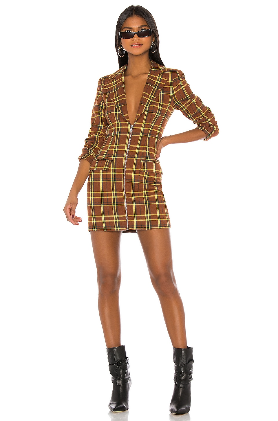 h:ours Vanessa Blazer Dress in Brown Plaid