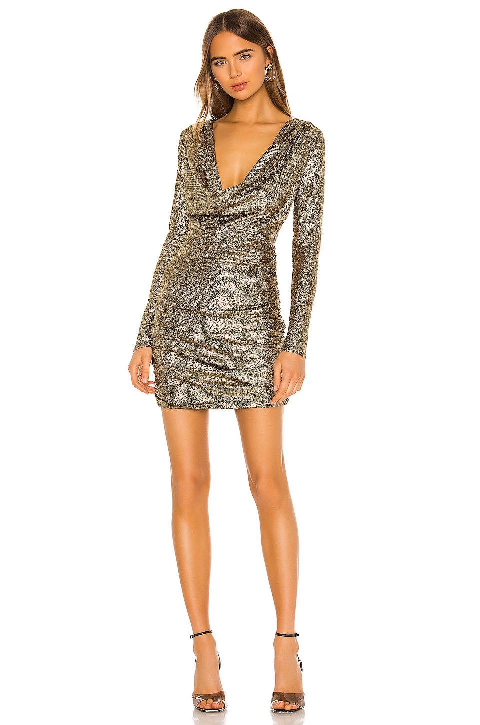h:ours Isla Cowl Neck Dress in Gold