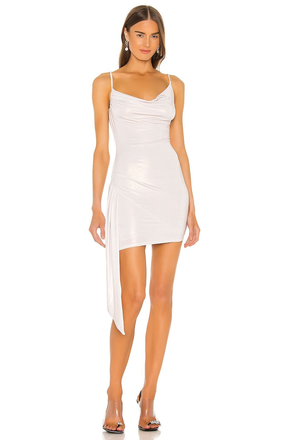 h:ours Cielo Mini Dress in White Gold