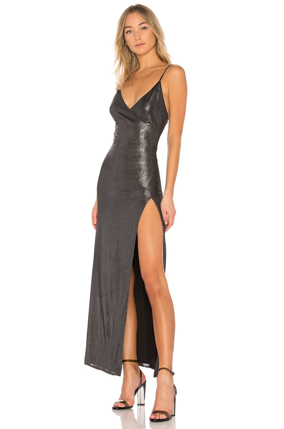 h:ours x REVOLVE Rey Dress in Gunmetal