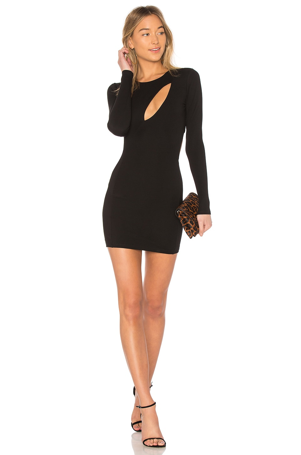 h:ours Taylor Cut Out Dress in Black