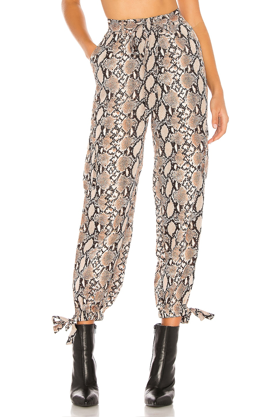 h:ours Simi Pants in Tan Snake