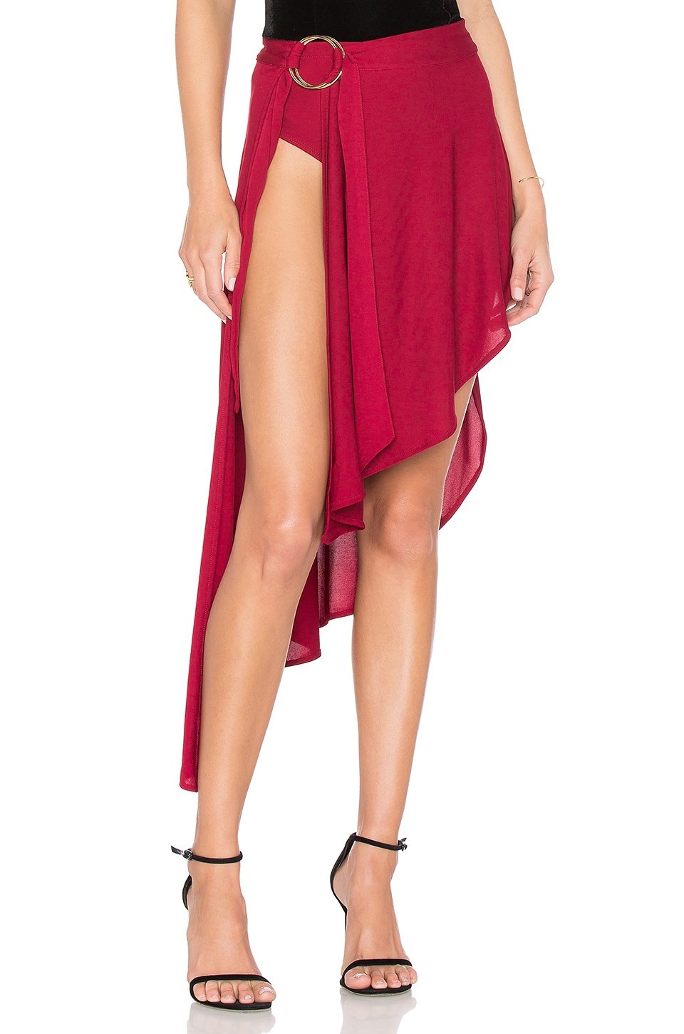 h:ours Louis Cascade Skirt in Burgundy