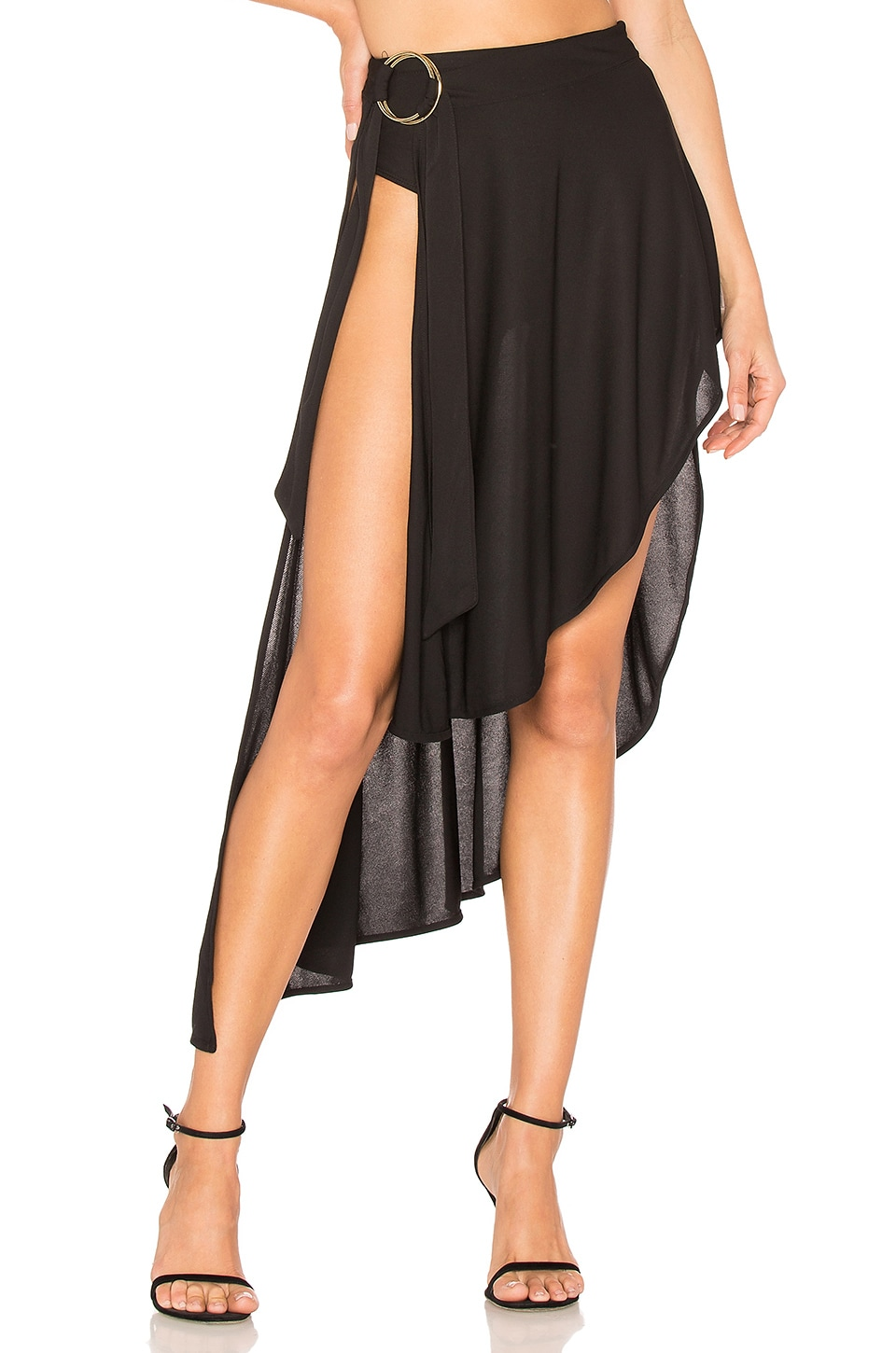 h:ours Louis Cascade Skirt in Black