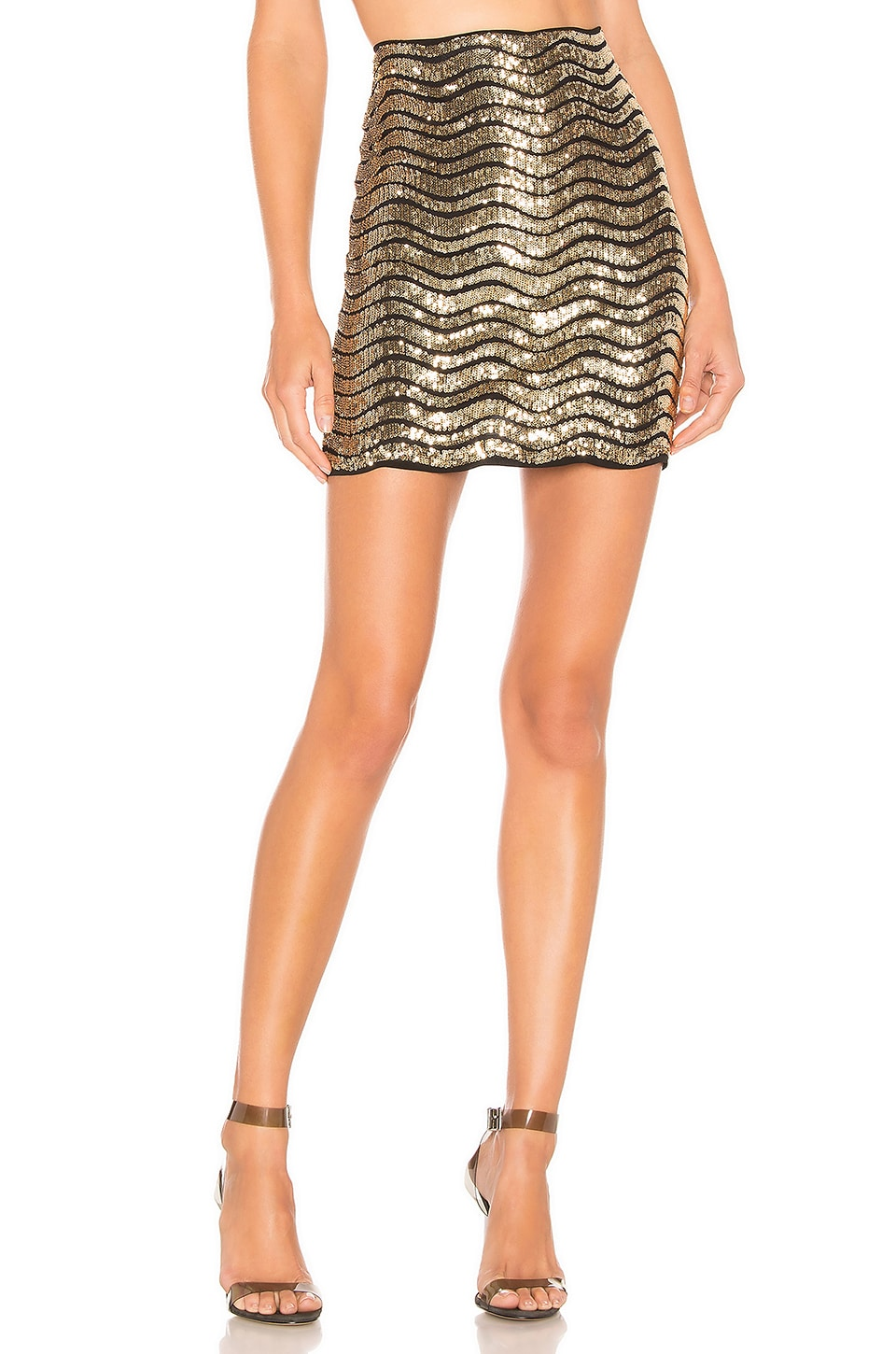h:ours Gemma Mini Skirt in Gold
