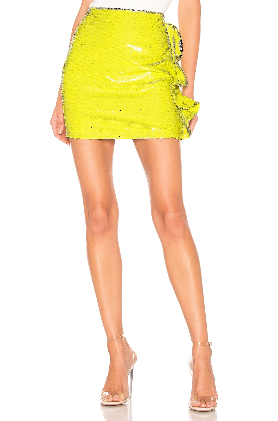 h:ours Suki Mini Skirt in Silver Yellow