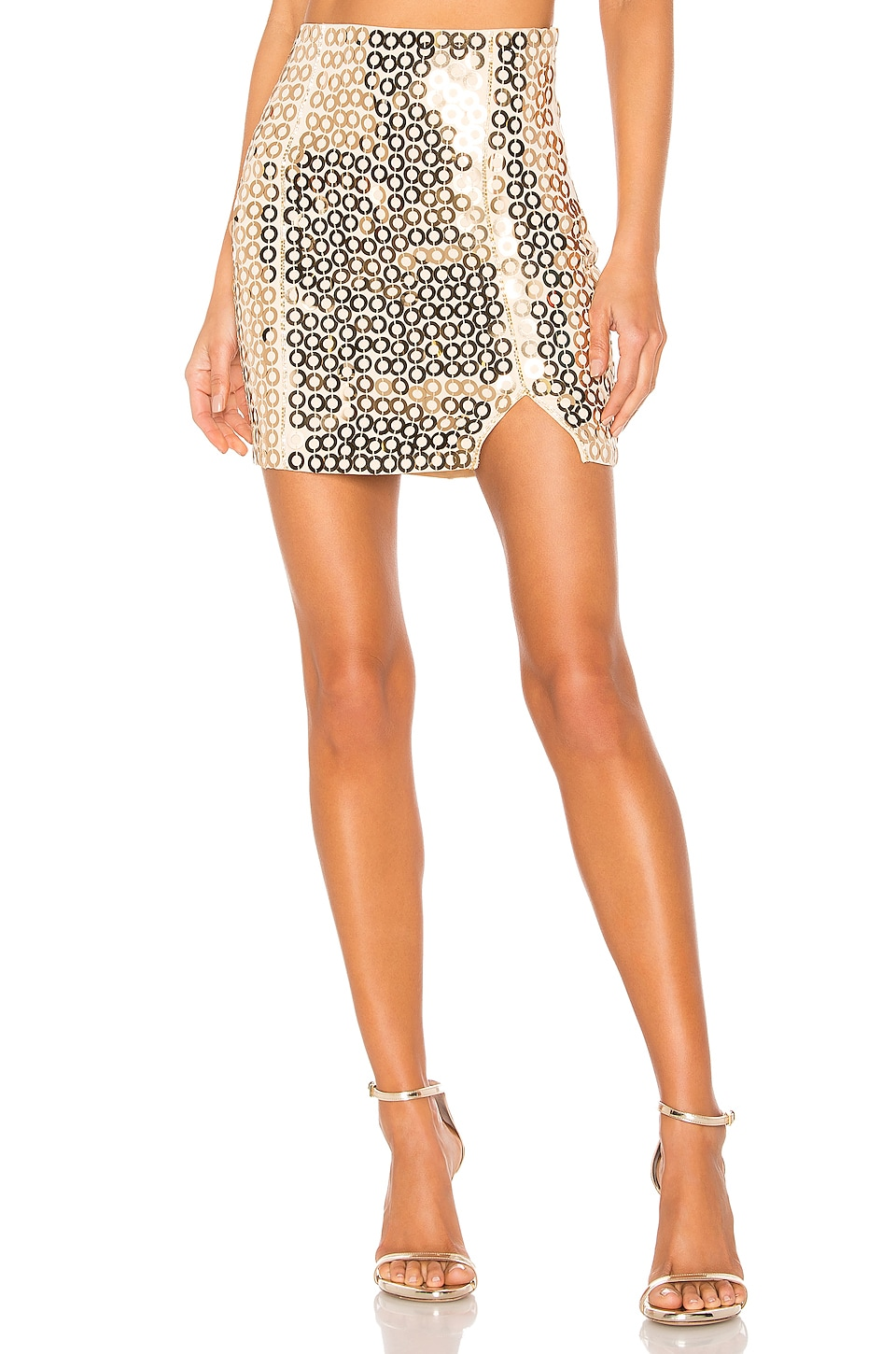 h:ours Galenia High Waisted Mini in Gold