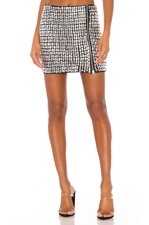 h:ours Revere Mini Skirt in Silver & Black