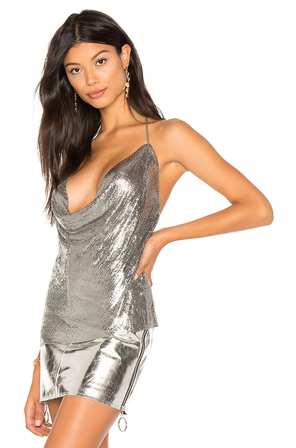 h:ours Ellie Chain Top in Iridescent Silver