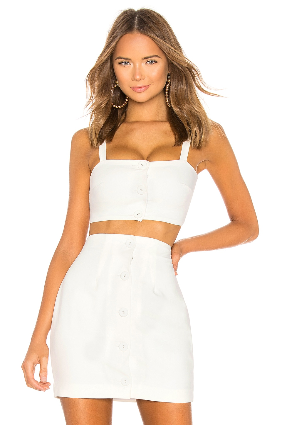 h:ours Issey Crop Top in White