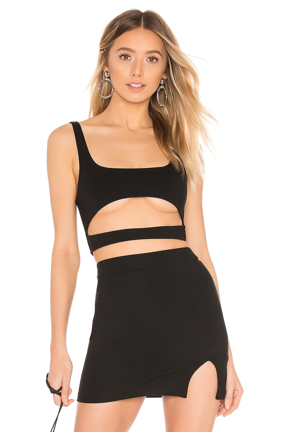 h:ours Montee Crop Top in Black