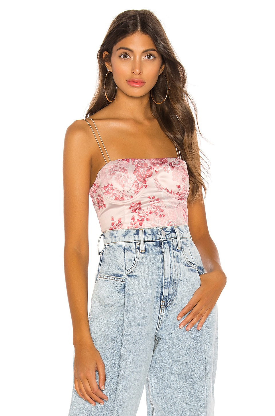h:ours Monique Bustier Top in Pink Floral