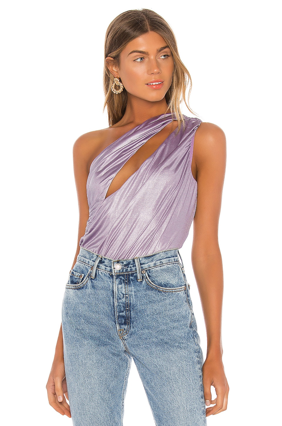 h:ours Luna Bodysuit in Lilac Grey