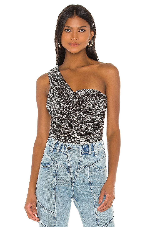 h:ours Aysm Bodysuit in Silver & Black