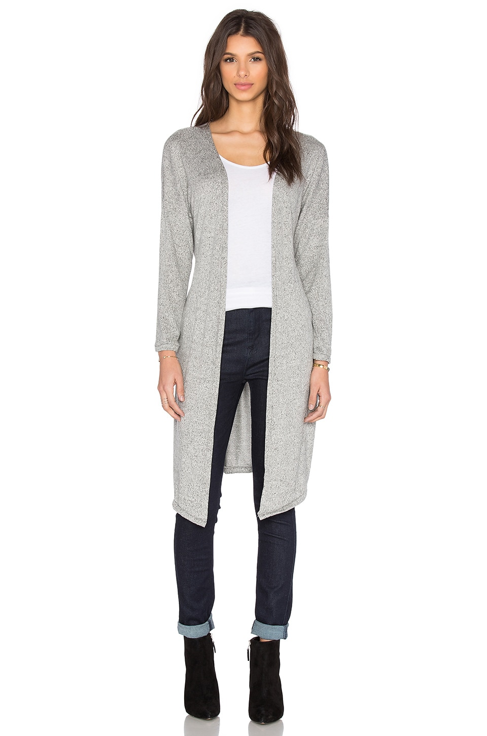 Hye Park and Lune Taylor Long Cardigan in Melange Black