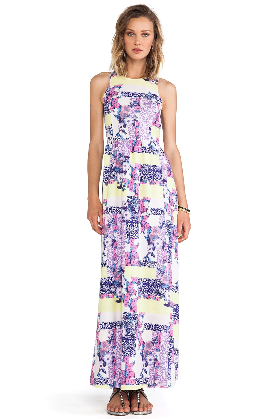 ISLA_CO Love Soaked Maxi Dress in Geo Pansy Print