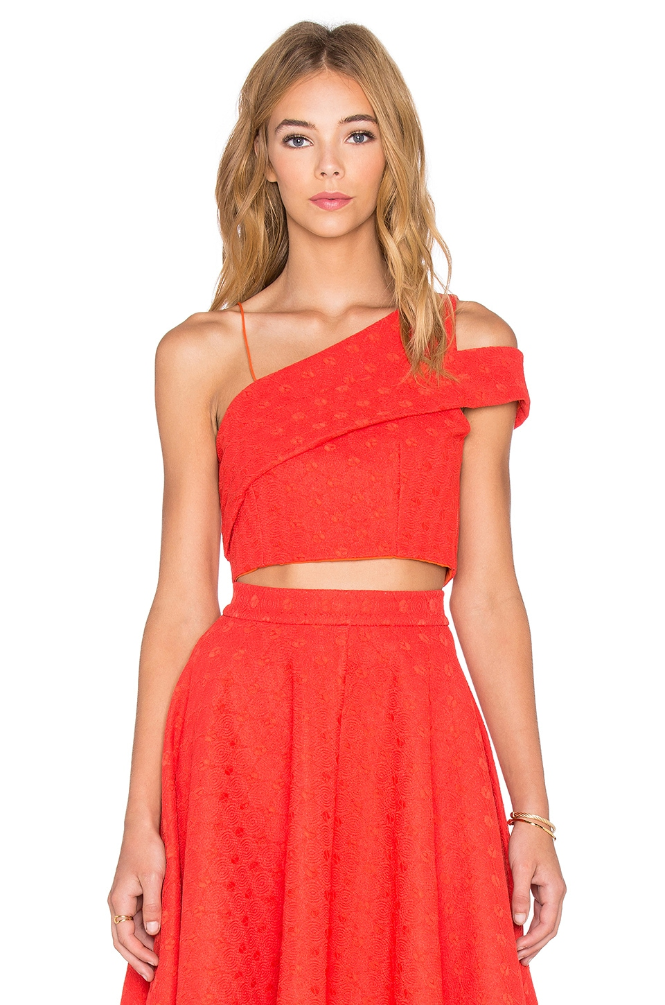 ISLA_CO Spoke Crop Top in Red