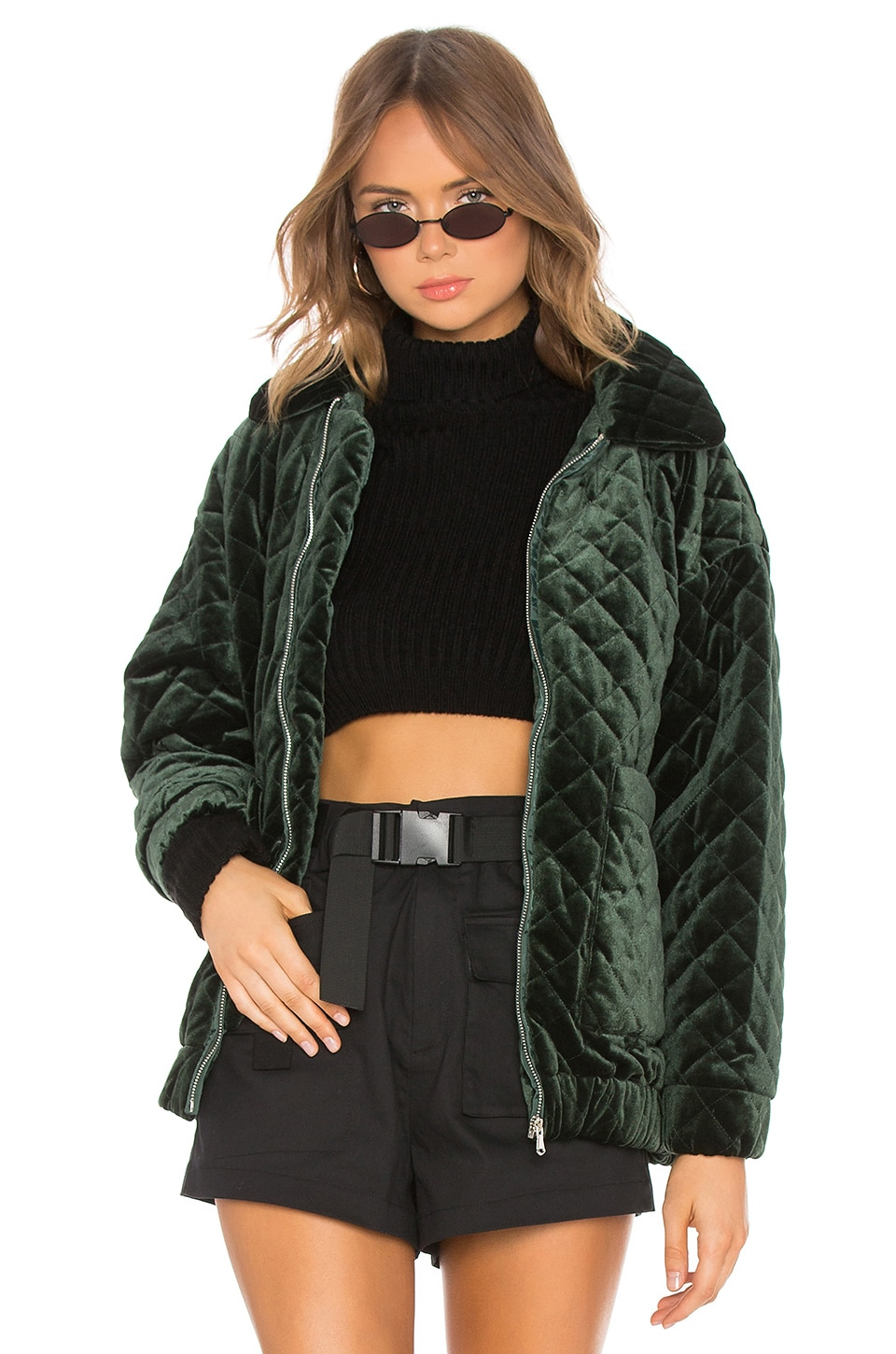 I.AM.GIA Contraband Velvet Jacket in Quilted Green