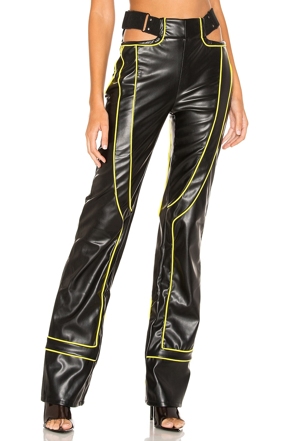I.AM.GIA Nora Faux Leather Pant in Black & Yellow
