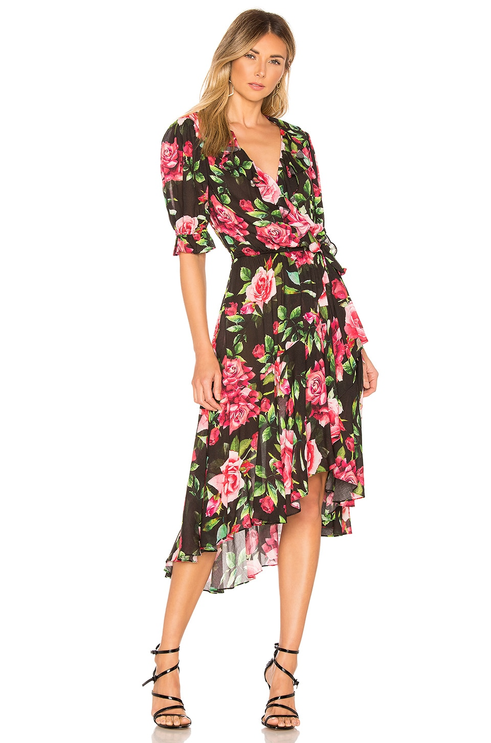 ICONS Objects of Devotion The Cha Cha Wrap Dress in Black Rose