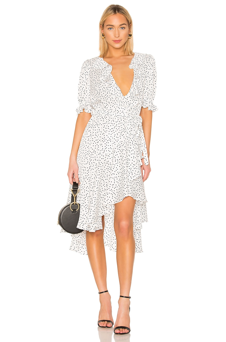 ICONS Objects of Devotion Cha Cha Wrap Dress in White & Navy Dot