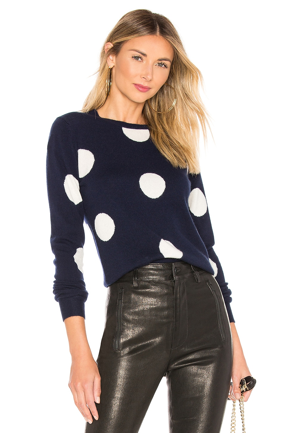 ICONS Objects of Devotion The Bardot Sweater in Navy & Linen Polka Dot