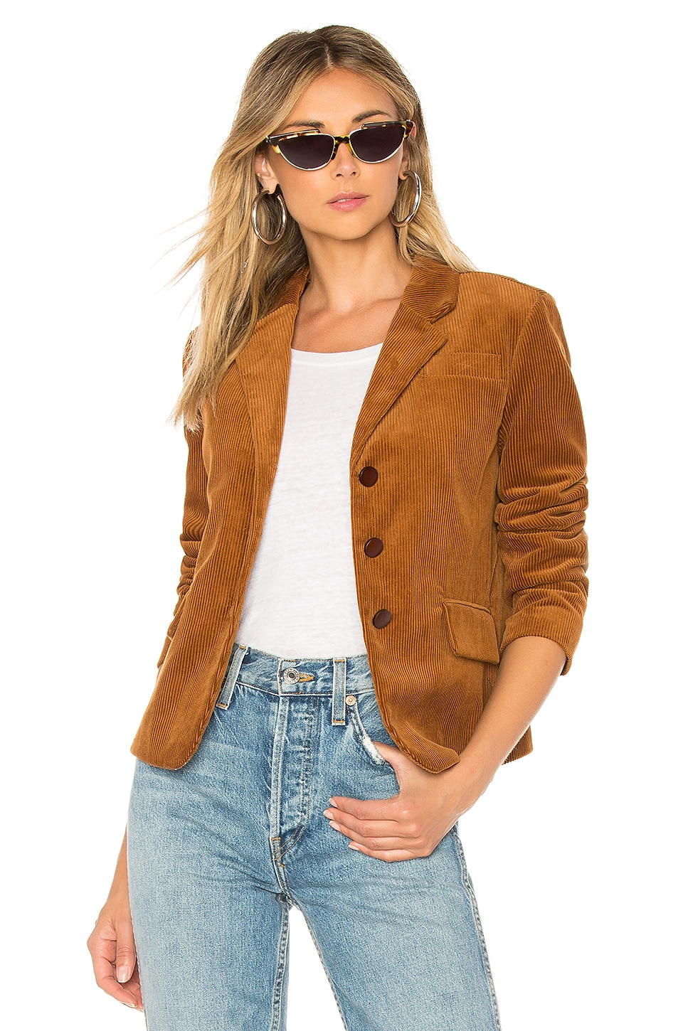 ICONS Objects of Devotion The Three Button Corduroy Blazer in Camel