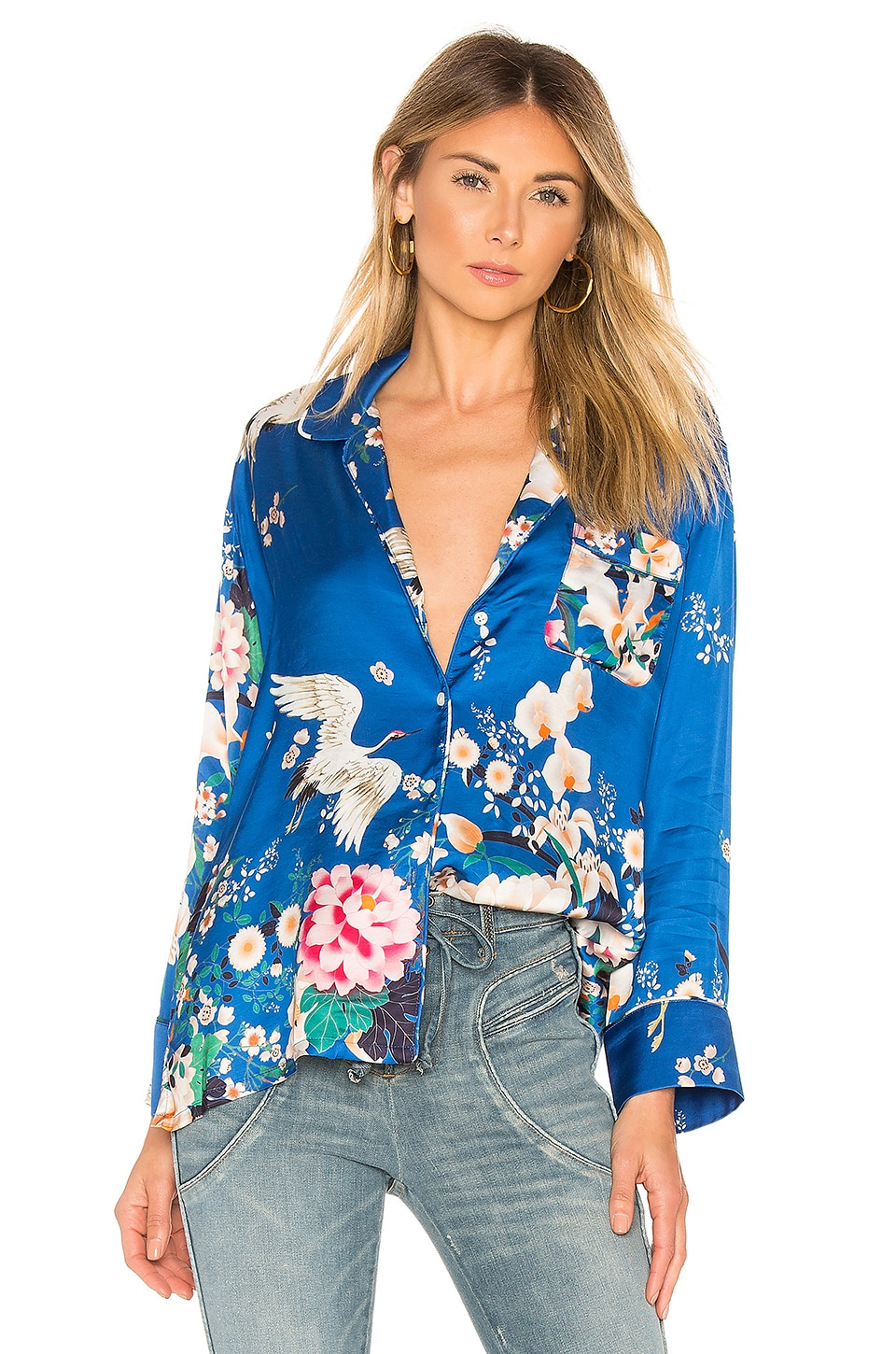 ICONS Objects of Devotion The Draper PJ Shirt in Chinoiserie Blue Bird
