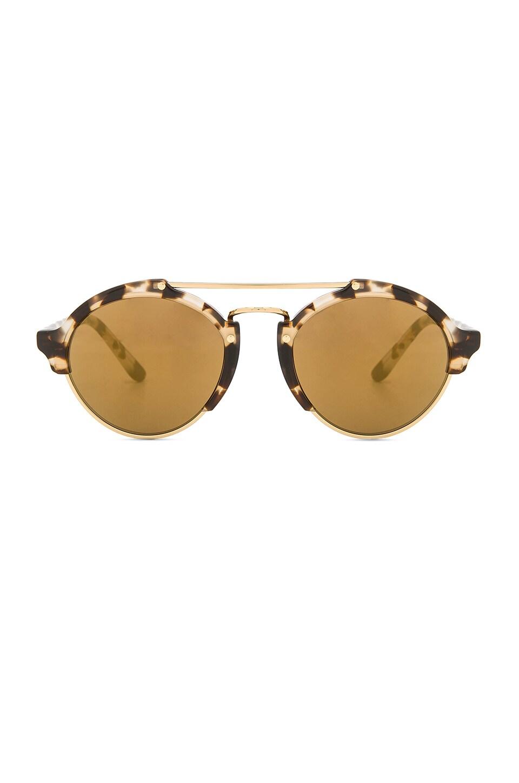 illesteva Milan II in White Tortoise with Gold Mirror Lenses