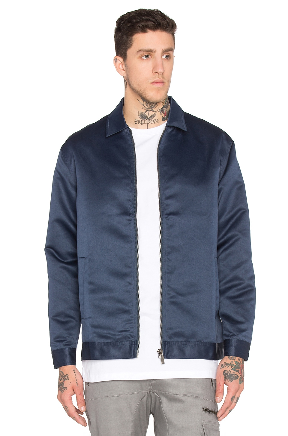 I Love Ugly Satin Coaches Jacket in Navy